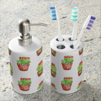 Watercolor Cactus Pattern Illustration Bathroom Set