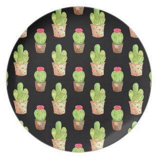 Watercolor Cactus Pattern Illustration Plate