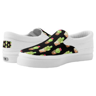 Watercolor Cactus Pattern Illustration Slip-On Shoes