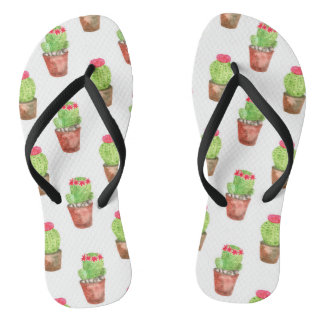 Watercolor Cactus Pattern Illustration Thongs