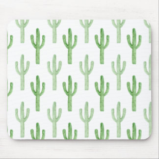 Watercolor Cactus Pattern Mouse Pad