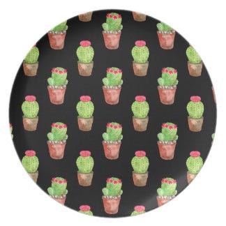 Watercolor Cactus Pattern Plate