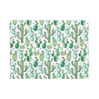 Watercolor Cactus Plants Pattern Doormat