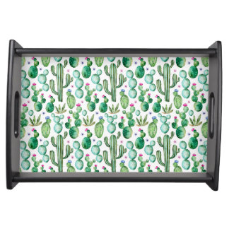 Watercolor Cactus Plants Pattern Serving Tray