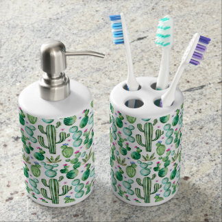 Watercolor Cactus Plants Pattern Soap Dispenser And Toothbrush Holder