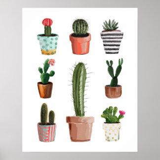 Watercolor Cactus Plants Poster