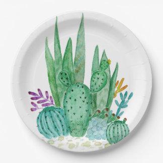 Watercolor , cactus , succulents 9 inch paper plate
