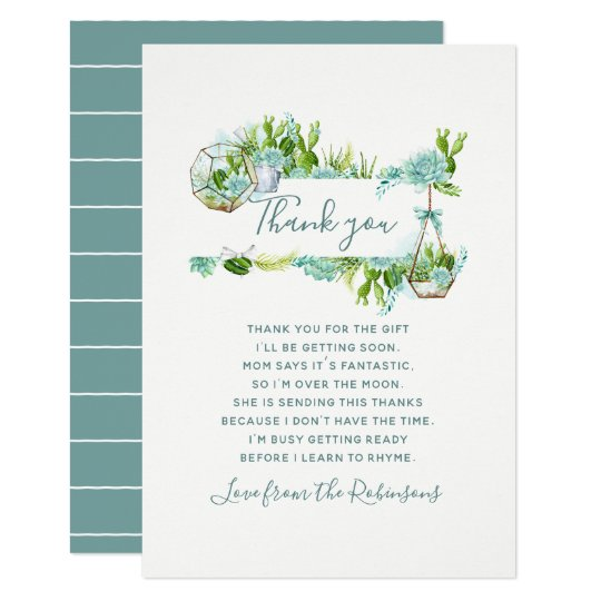 Watercolor Cactus Succulents Baby Shower Thank You Card