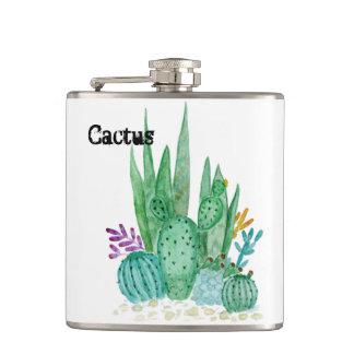 Watercolor , cactus , succulents hip flask