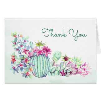 Watercolor Cactus & Succulents Thank You Card