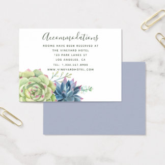Watercolor Cactus Succulents Wedding Accommodation Business Card