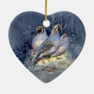 Watercolor California Quail Bird in Blue Ceramic Ornament