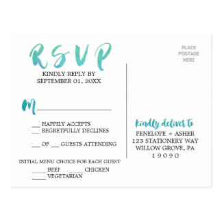 Watercolor Calligraphy Beach Menu Choice RSVP Postcard