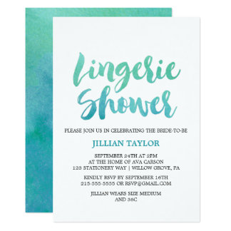 Watercolor Calligraphy Destination Lingerie Shower Card