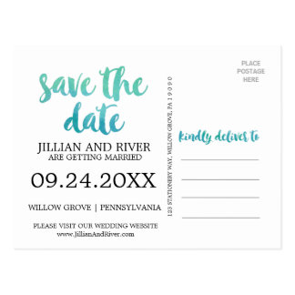 Watercolor Calligraphy Destination Save the Date Postcard