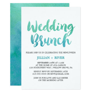 Watercolor Calligraphy Destination Wedding Brunch Card