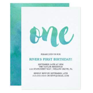 Watercolor Calligraphy First Birthday Card