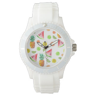 Watercolor Candied Fruit Pattern Watch
