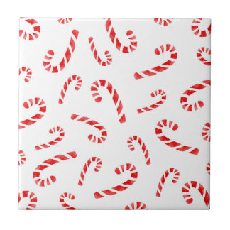 Watercolor Candy Cane Pattern Ceramic Tile