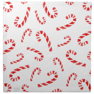Watercolor Candy Cane Pattern Napkin