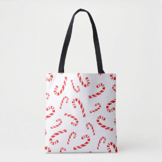 Watercolor Candy Cane Pattern Tote Bag