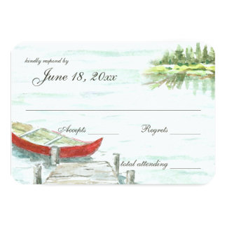 Watercolor Canoe Lake Wedding Response Card