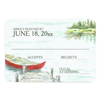 Watercolor Canoe Lake Wedding Response Card