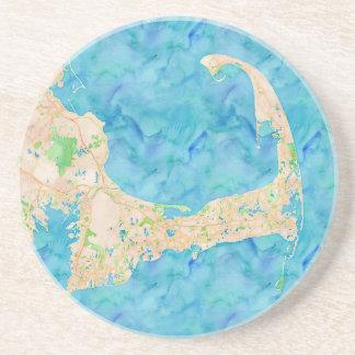 Watercolor Cape Cod Map Coasters