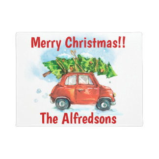 Watercolor Car with Christmas Tree Doormat