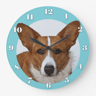 Watercolor Cardigan Welsh Corgi Portrait Large Clock