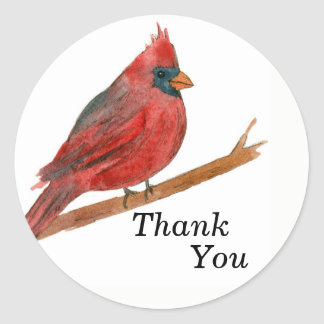 Watercolor Cardinal Bird Classic Round Sticker