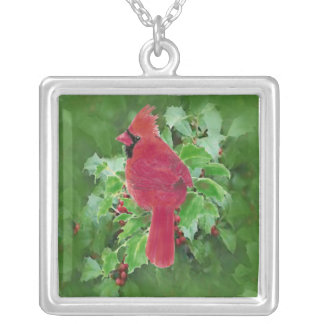 Watercolor Cardinal Bird Holly Berry Christmas Silver Plated Necklace
