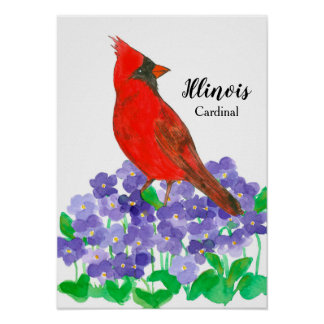 Watercolor Cardinal Bird Wood Violet Poster