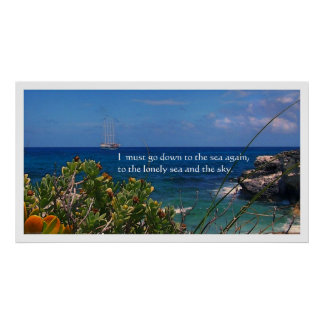 Watercolor Caribbean Sea Poetry Poster Print