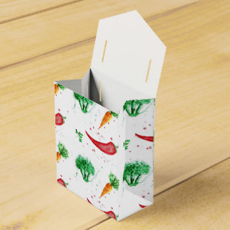 Watercolor carrots, broccoli and red peppers wedding favour boxes