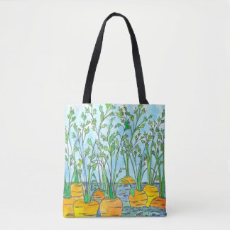 Watercolor Carrots Vegetable Garden Painting Tote Bag