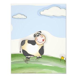Watercolor Cartoon Cow Photo Art