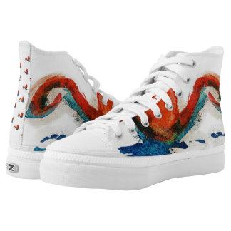 watercolor cat art printed shoes