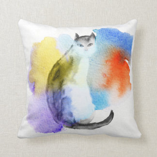 Watercolor Cat Cushion