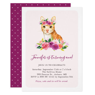 Watercolor Cat Floral Kids Birthday Invitation