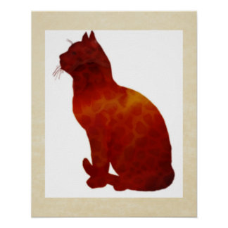 Watercolor Cat Silhouette Poster