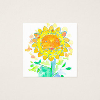 Watercolor Cat Sunflower Yellow Square Business Card