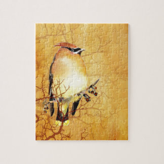 Watercolor Cedar Waxwing Bird Jigsaw Puzzle