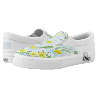 Watercolor . Chamomile . Slip-On Shoes