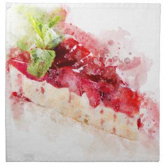 Watercolor cheesecake napkin