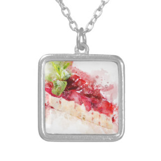 Watercolor cheesecake silver plated necklace
