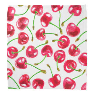 Watercolor cherries pattern bandana