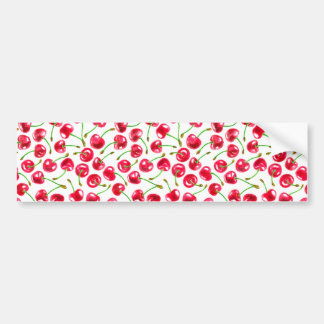 Watercolor cherries pattern bumper sticker