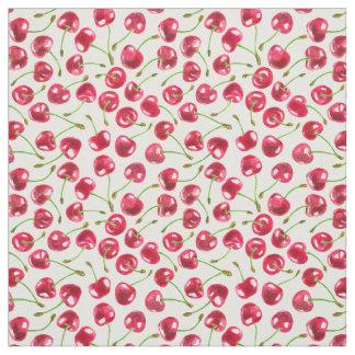 Watercolor cherries pattern fabric
