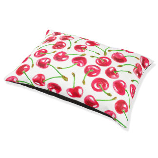 Watercolor cherries pattern pet bed